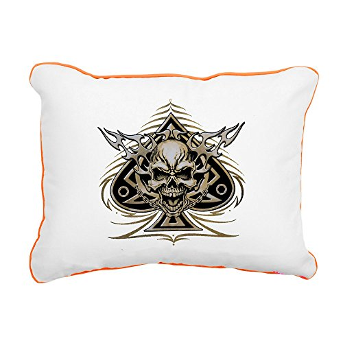 - Rectangular Canvas Throw Pillow Orange Skull Spade Chains and Flames