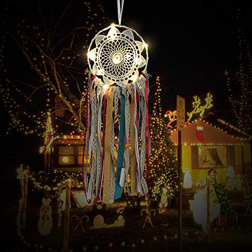 Weite Dream Catcher, Real Handmade Ribbon Dream Catcher with Bright String Lights, Exquisite Household Wall Hanging Car Hanging Ornament (White) by Weite (Image #2)