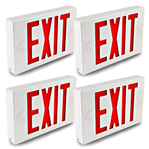 (Hykolity LED Exit Sign Emergency Light Lighting Universal Mounting Double Face Red Letter with Battery Backup - 4 Pack)
