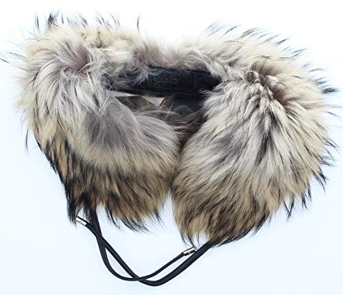 Coach 83190 Finn Raccoon Fur Tie Scarf Leather Collar Trim (Coach Brown Scarf)