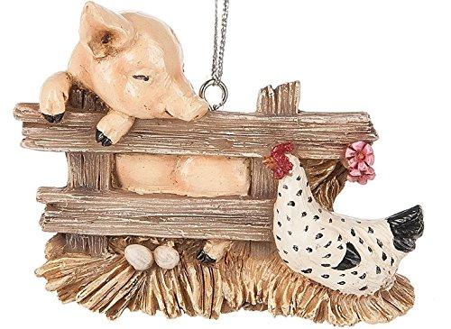 (Pig Charlotte Hen Chicken Barn Animal Bird Christmas Tree Ornament Web)