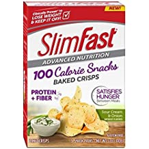 Slim Fast Advanced Nutrition 100 Calorie Snacks, Baked Crisps, Sour Cream & Onion, 5 OZ, 5 Count (Pack of 4) by Slim-Fast