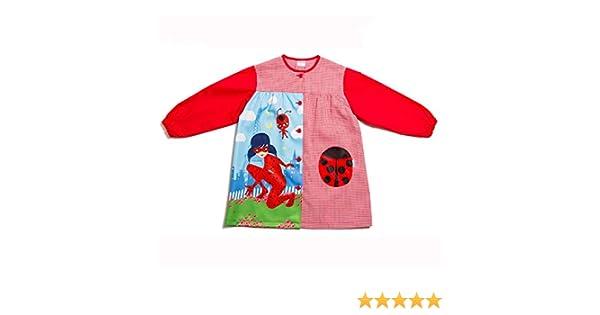 Dyneke Bata escolar botón rojo Lady Bug personalizable con nombre bordado (Talla 4): Amazon.es: Ropa y accesorios