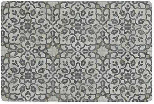 Vinyl Floor Mat, Durable, Soft and Easy to Clean, Ideal for Kitchen Floor, Mudroom or Pet Food Mat. Freestyle, Iron Filigree Pattern 2 ft x 3 ft