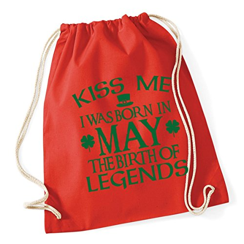 me in born HippoWarehouse Kid School Drawstring Gym Bag 46cm Red Cotton 37cm I birth was legends Sack litres May of 12 Bright Kiss the x 5qXAXwF
