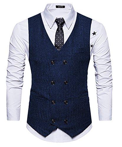 WULFUL Mens Slim Fit Double Breasted Tweed Waistcoat Vintage Gentleman British Suit Vest Navy XXL