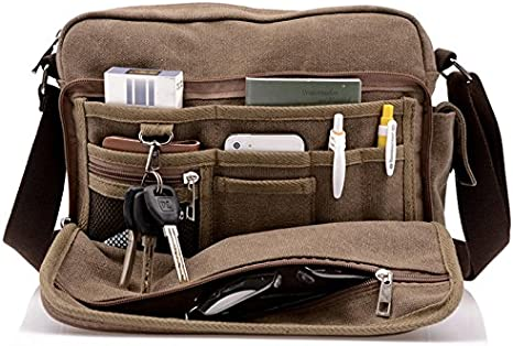 Mens Vintage Canvas Travel Sling Shoulder Bag Satchel Bag Crossbody Messengers
