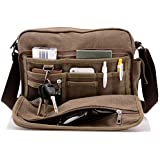 harwish de los hombres multifuncional Canvas Messenger bolso deportes al aire última intervensión a través de hombro crossbody Side Bag (coffee-largesize)