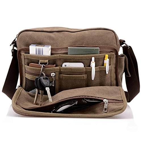 Men's Multifunctional Canvas Messenger Handbag Outdoor Sports Over Shoulder Crossbody Side Bag