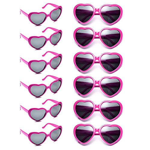 12 Pack Wholesales Heart Shape Design Neon Colors Cute Love Sunglasses for Birthday, Bachelorette, Sunmmer Vacation Parties 100% UV Protection Eyewear for Women and Girls (hotpink)]()