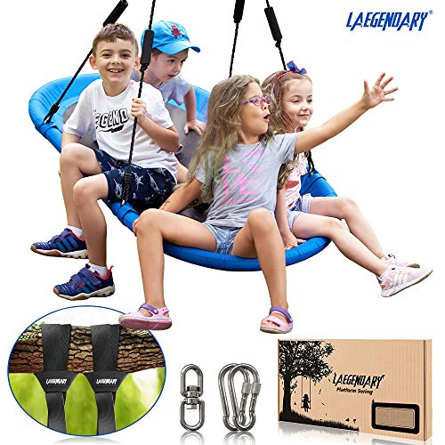 60 Inch Platform Tree Swing for Kids and Adults - Giant Flying Outdoor Indoor Saucer Hammock - Surf Tire Swingset Accessories Toys - 2 Tree Straps, 2 Carabiners, 1 Swivel - 350 Pounds Yard Swings Set (For Swingsets Kids)