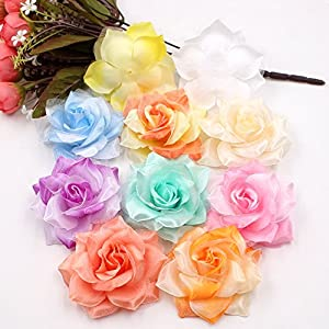 Fake flower heads in bulk wholesale for crafts Silk flowers head Artificial Flower Large Silk 2 Color Fire Rose Head Wedding Decoration DIY party festival Home Decor Garland Decorative Floristry 10pcs 6