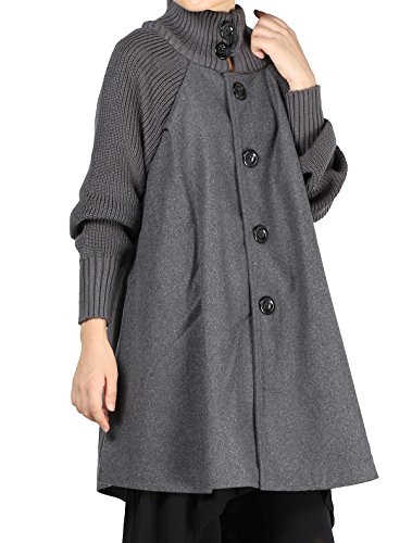 Mordenmiss Women's Knit Sleeves Wool Coat Turtleneck Button Down