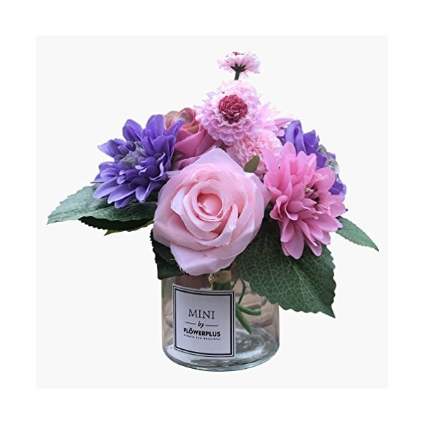 Fresh home ,Artificial Flowers with Vase, Faux Rose Dahlia Chrysanthemum in Transparent Vase, Faux Flower Arrangements for Home Decor, Purple, Small