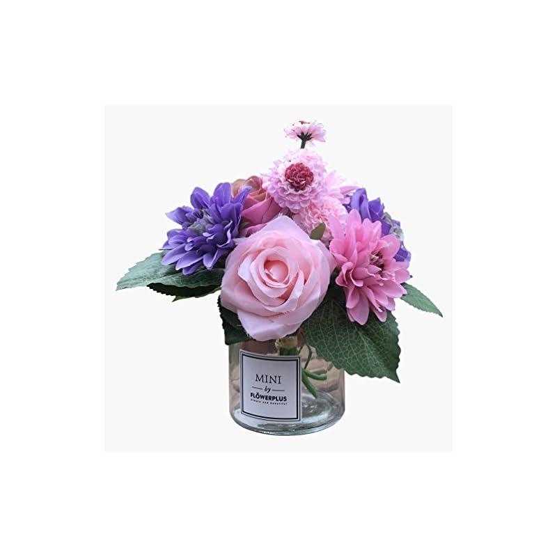 silk flower arrangements billibobbi ,artificial flowers with vase, faux rose dahlia chrysanthemum in transparent vase, faux flower arrangements for home decor, purple, small