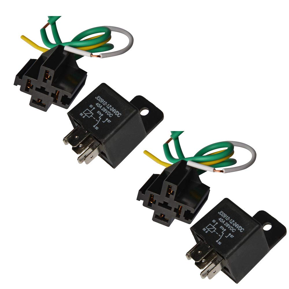 Ehdis Car Truck Relay Socket Harness kit 5 Pin 5 Pre-wired 24V 40 Amp SPDT Bosch Style, Automotive Motor Relay Contactor Switches Power, Pack of 2