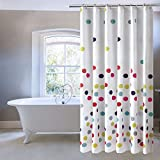 Polka Dot Shower Curtain Ufriday Colorful Polka Dots Shower Curtain,Water-Repellent and Mildew-Resistant with Metal Grommets, Cute Pattern Bath Curtain for Kids Decorative, Multicolor on White, Standard Size 72 by 72