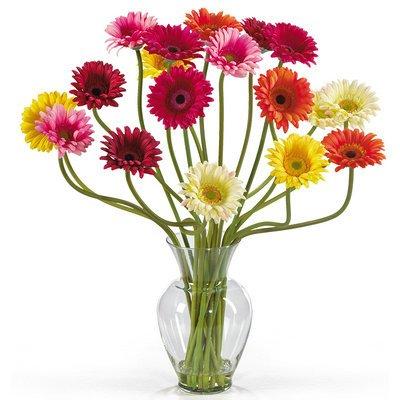 Nearly Natural Gerber Daisy Liquid Illusion Silk Flower Arrangement