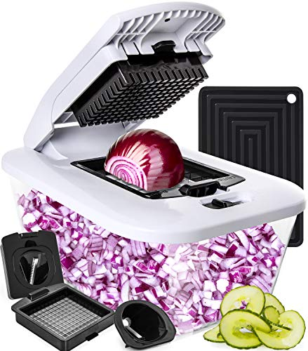 Vegetable Chopper Spiralizer Vegetable Slicer Dicer - Onion Chopper Food Chopper WITH LARGE GLASS OVEN-SAFE CONTAINER - Veggie Chopper Vegetable Cutter Potato Slicer - Choppers and Dicers by Fullstar (Kids Chopper Mini)