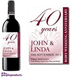Personalised 40th Ruby Wedding Anniversary Wine Bottle Label Gift for Women and Men