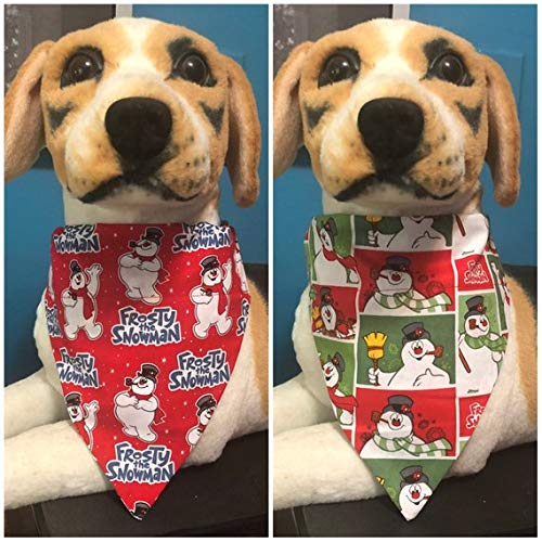 (Reversible Over The Collar Pet Bandana Scarf Christmas Frosty the Snowman Dogs Cats slide on 2 in 1)