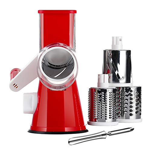 KEOUKE Rotary Cheese Grater Handheld - Nut Chopper Grinder Salad Shooter Vegetable Slicer with a Stainless Steel peeler (Red) (Electric Grater Cheese)