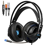 SADES SA935 Gaming Headset Xbox One headsets Stereo With Mic 3.5MM Jack Multi-Platform Over-ear Headphones Noise-Canceling Volume Control LED Light For New Xbox One/PC/PS4/Smartphones (BlackBlue)