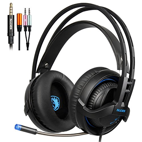 (SADES SA935 Gaming Headset Xbox One headsets Stereo With Mic 3.5MM Jack Multi-Platform Over-ear Headphones Noise-Canceling Volume Control LED Light For New Xbox One/PC/PS4/Smartphones (BlackBlue))