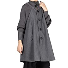Mordenmiss Women's New Wool Button Down Coat A-lined Overcoat