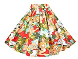 BI.TENCON Vintage Floral Printed Swing Summer Casual Skirt for Women with Pockets S