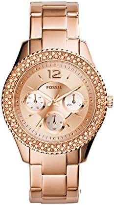 Fossil Women's Stella Stainless Steel Crystal-Accented Multifunction Quartz Watch