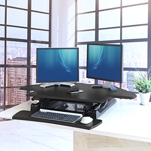 Seville Classics OFF65869 Airlift 43'' Gas-Spring Adjustable Cubicle Corner Standing Desk Ergonomic Workstation with Keyboard Tray (Max Height 19.7''), Black by Seville Classics (Image #4)