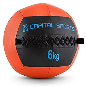 Capital Sports Wallba 6 Wall Ball Leder Medizinball 6kg Trainingsgewicht...
