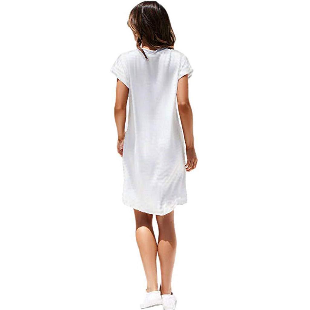 2019 Summer Simple Solid Color Dress V-Neck Short Sleeve Knee Length Loose Long Beach Dresses Womens Casual Dress