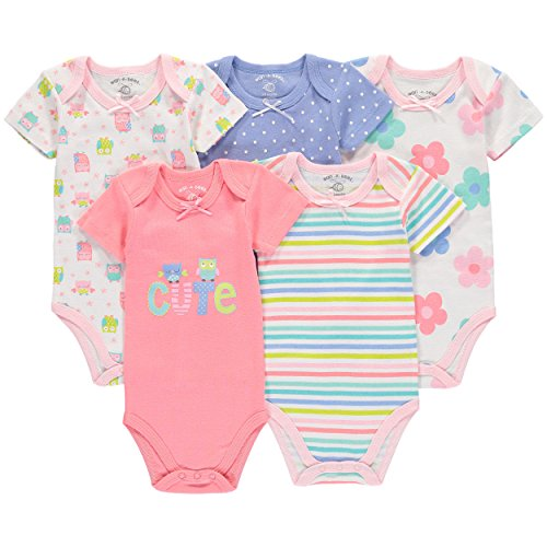 Wan-A-Beez 5 Pack Baby Girls' and Boys' Short Sleeve Bodysuits (3-6 Months, Owls)