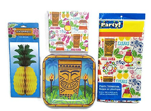 Tropical-Hawaiian-Luau-Party-Paper-Plates-and-Napkins-Bundle-of-4-Service-for-14