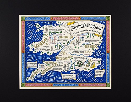 Map of King Arthur's England Described by Thomas Malory in Hand Lettered Calligraphy Fine Art Print Reproduction