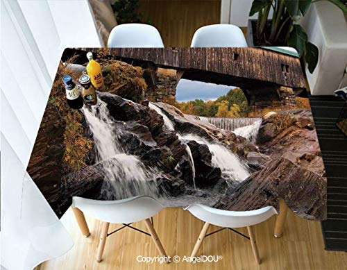 AngelDOU Rectangle Printed Waterproof Tablecloth Old Rustic Oak Covered Bridge Over Cascading Waterfalls Rock Fall Season American City for Home Kitchen Dining Room Picnic Party,W55xL82(inch) -