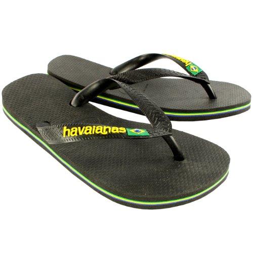 Womens Havaianas Logo Slip På Flip Flops Sommer Strand Sandaler Nye Svart