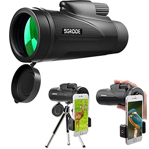 SGODDE Monocular Telescopes,12X50 High Powered Daul Focus Spotting Scopes-Waterproof,Low Light Night Vision, BAK4 Prism Lens with Smartphone Clip&Tripod for Outdoor Bird Watching Hunting Travelling by SGODDE