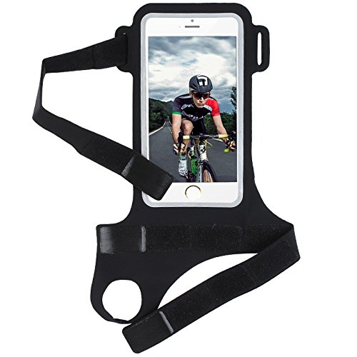 Workout Cycling Biking Jogging Running Sports GYM Lycra Thumb Armband Card Holder Pouch Case For Motorola Moto G5s Plus / E4 Plus / Z2 Play / HTC U11+ / OnePlus 5T / Google Pixel 2 XL (Black) by ebuymore (Image #3)