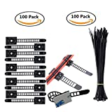 Eiito Wire Clips Cables Clamps (100 Pack) + Nylon Zip Ties (100 Pack) Adjustable 3M Self-Adhesive Cable Multipurpose Cable Clips Tie Mount for wire management