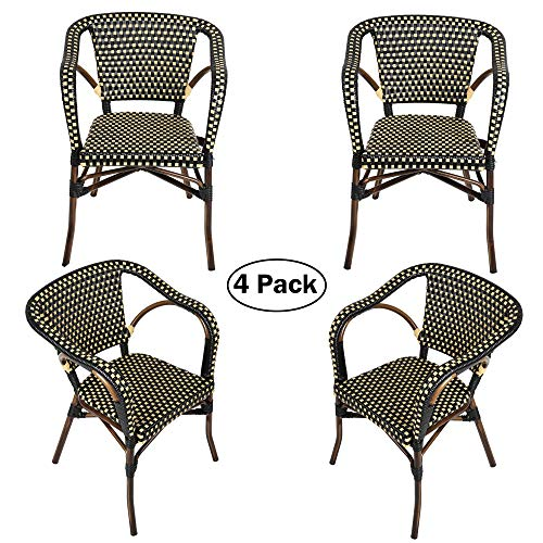 Outdoor Rattan Wicker Chair Set of 4 Stackable Arm Chairs with Aluminum Frame Patio Dining Chair for Backyard Porch Garden, Black/Cream