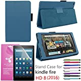 EpicGadget PU Leather Folding Folio Case with Screen Protector and Random Color Stylus for Fire HD 8 (Previous 6th Gen) (2016) - Navy Blue