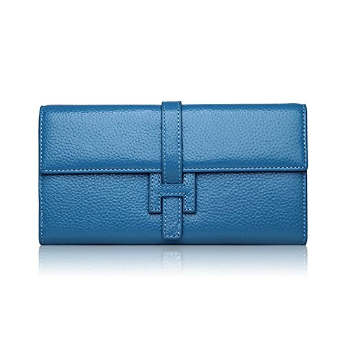 Grebago Women's Genuine Leather Long Wallet Clutch Purse Handbag Card Holder Case with Coin Zipper Pocket Blue