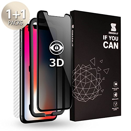 Smash-It Privacy Screen Protector Compatible with iPhone Xs,X 3D Tempered Glass Anti Spy Protector [Alignment Tool] [Back Skin Film] for Apple iPhone Xs,X