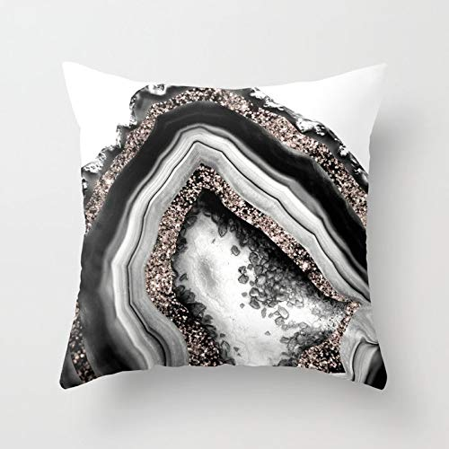 Agate Rose Gold Glitter Glam Gem Square Cotton Linen Throw Pillow Cover Case Zippered Sofa Waist Cushion Cover for Bed Sofa Car 18x18 Inches
