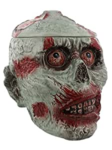 7.75 Inch Zombie Skeleton Skull Ceramic Cookie Jar Statue Figurine