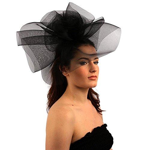 SK Hat shop Fancy Kentucky Derby Tulle Headband Comb Fascinator ... 95ea50c527f