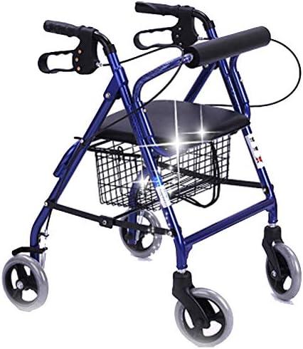 高齢者用歩行器調節可能ハンドル折りたたみ式ローラー歩行器、軽量折りたたみ式ホーム高齢者用トロリーホイール付きシート付き4輪車いす歩行器